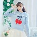2017 nova primavera outono bonito lolita harajuku girls gola naval preppy vento lovely longo-sleeved camisola tops g274