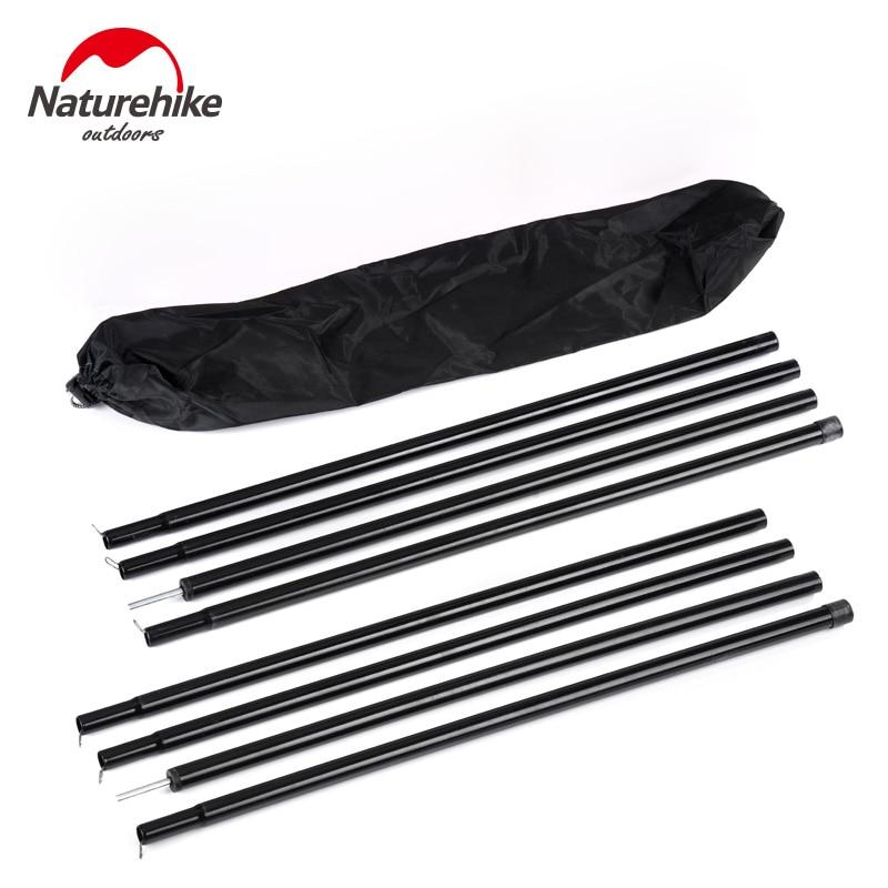 NatureHike 2*2 m Nero Rinforzato Tenda Pole (4 sezioni per polo) Sherardized Rod D'acciaio per Tenda tenda Tarp/Copertone T011
