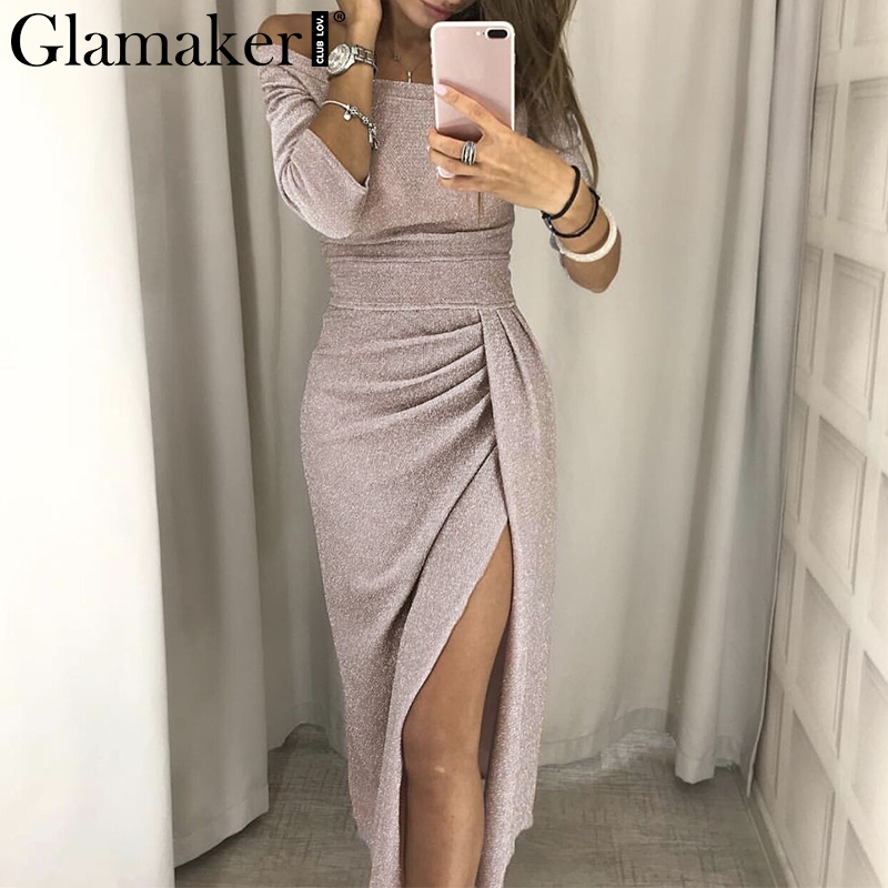 Glamaker Lurex Off Shoulder Sexy Dress Women Split Sexy Pink Long Party Dress Elegant Bodycon Half Sleeve Black Dress Vestidos