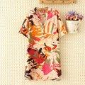 Плюс размер Цвет multi Хлопок лето женщины Рубашка блузка XL ДЛЯ 4XL отложным Воротником основные orange and blue дамы Повседневная рубашка