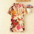 Plus size Color multi Cotton summer long women Shirt blouse XL TO 4XL Turn-down Collar main orange and blue ladies Casual shirt