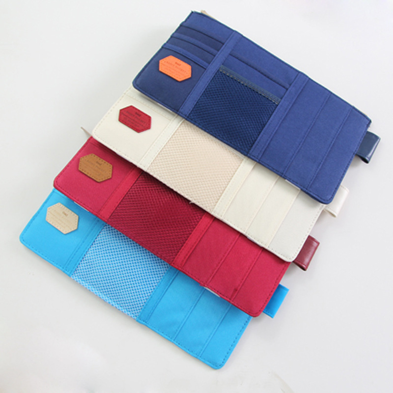 4 colors car sun visor fabric admission package dvd bills bank card holder clip car bag storage organizer