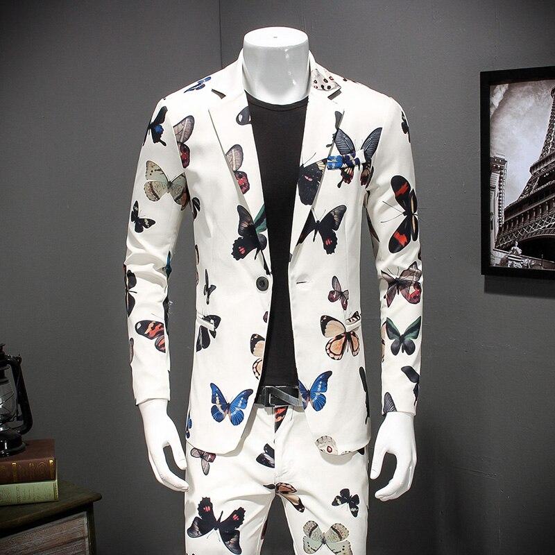 2pc Men Suit Latest Coat Pant Designs Floral Blazer Set Slim Fit Casual Terno Masculino Fashion Dress Suits Men Clothing 4XL M