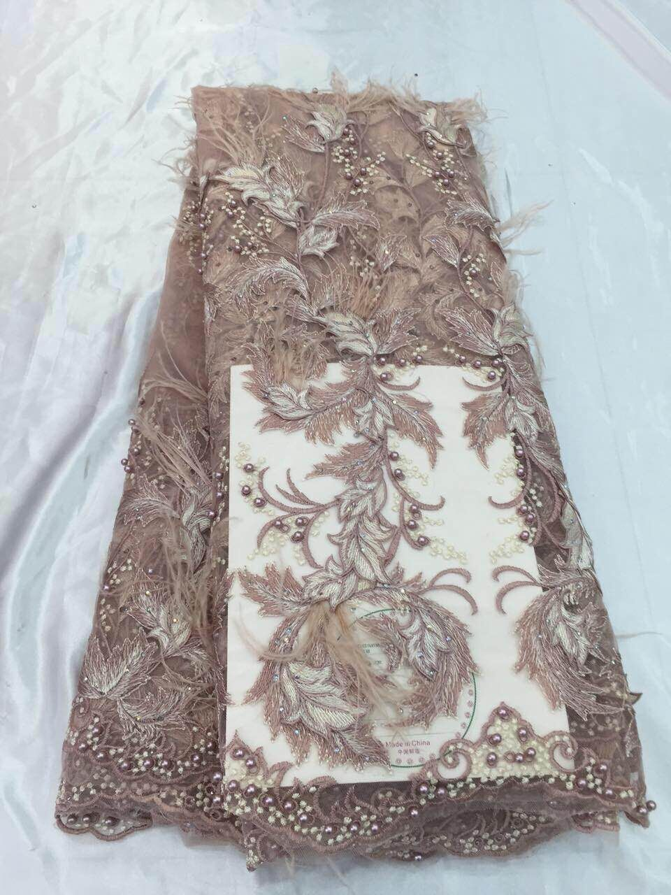 luxury feather embroidered lace fabric with beads good looking CiCi 91216 french net lace fabric