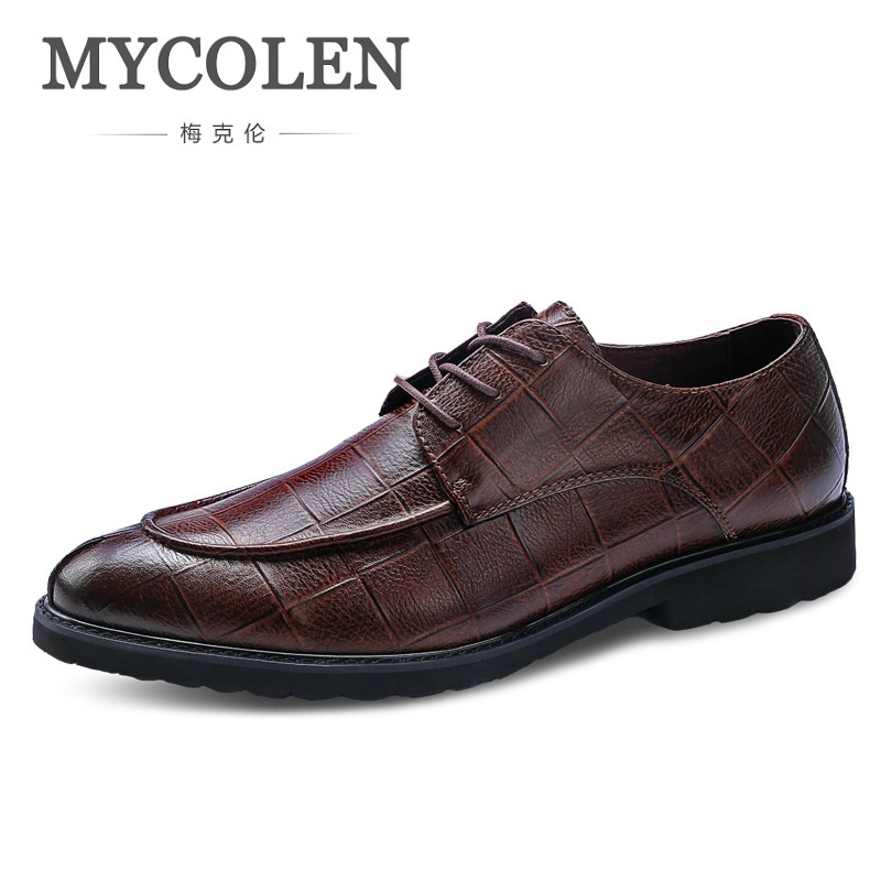 Formal Shoes Mycolen Mens Shoes Pointed Toe Dress Shoe Crocodile Skin Formal Homme Italy Dress Oxford Shoes Leather Wedding Sapatos Homens To Adopt Advanced Technology