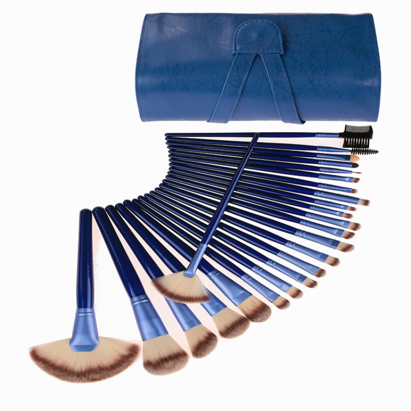 24pcs Blue makeup brush set tools make-up Toiletry Kit Wool Brand Face Powder Make Up Brushes Set Case Cosmetic