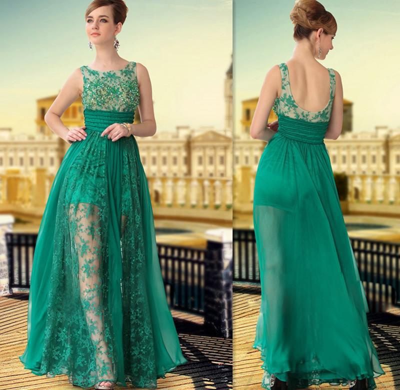 Emerald Green Prom Dresses 2015 Modest Lace Beach Long Evening Party ...