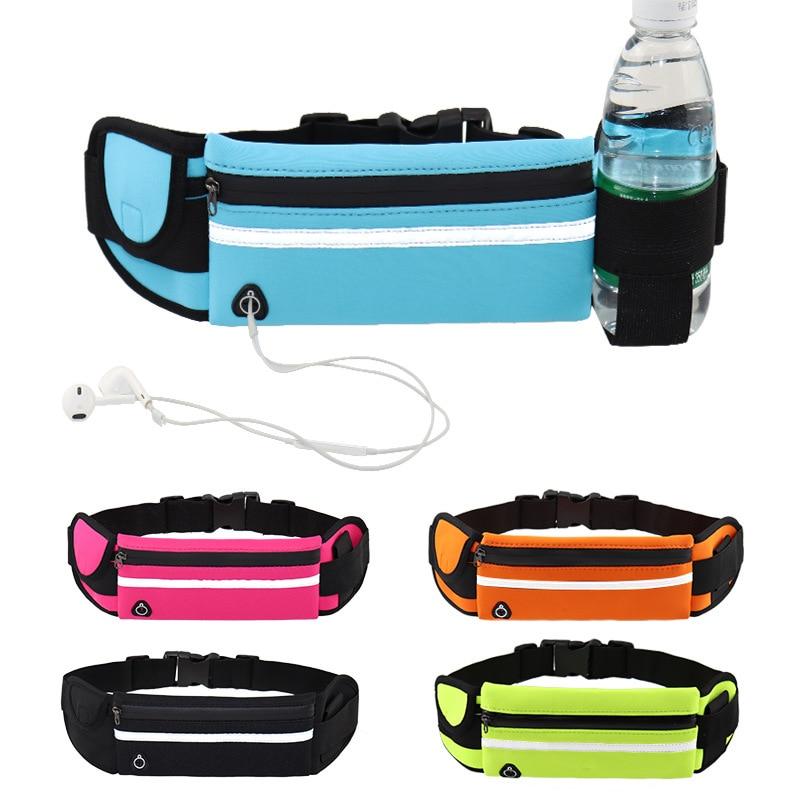 Running Bag Water Bottle Waist Bag With Earphone Hole Women Men Round Belt Bag Waterproof Polyester Sport Camping Hiking Bag