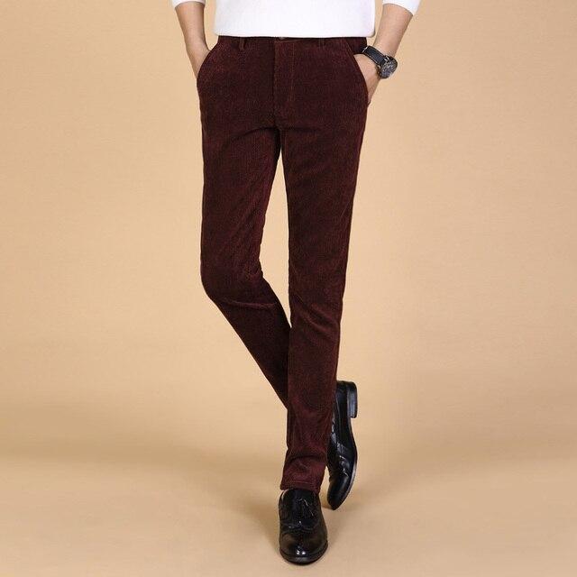 2017 осенняя мода мужская повседневная Вельветовые брюки Мужчины дышащие брюки высокого качества для мужчин брюки 5 цвета плюс размер 38
