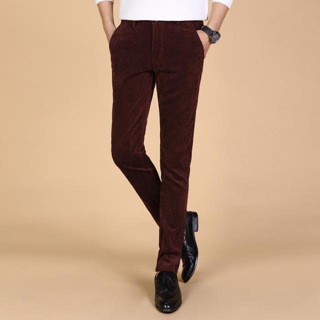 2017 homens da moda outono calças de Veludo Cotelê casuais calças Dos Homens calças calças dos homens de alta qualidade respirável 5 cores plus size 38