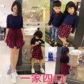 Combinando roupas da família mãe e filha se veste xadrez combinando vestido de pai e filho de manga comprida patchwork camisola roupas