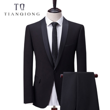 TIAN QIONG Custom Made Black Men Suit, Tailor Made Suit, Bespoke New 2018 Wedding Suits For Men, Slim Fit Groom Tuxedos For Men