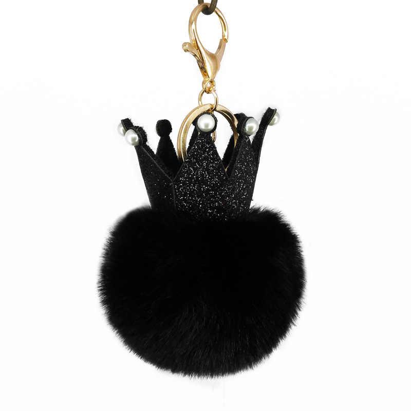 Bonito lantejoulas coroa pompom chaveiros artesanal inchado bola chaveiro saco pingentes decoração jóias encantos chaveiro crianças brinquedos presente