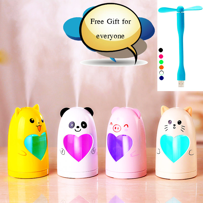 Mini USB Cute Air Humidifier Silent Ultrasonic Diffuser Mist Maker Colorful Changing LED Night Light For Home Office Car
