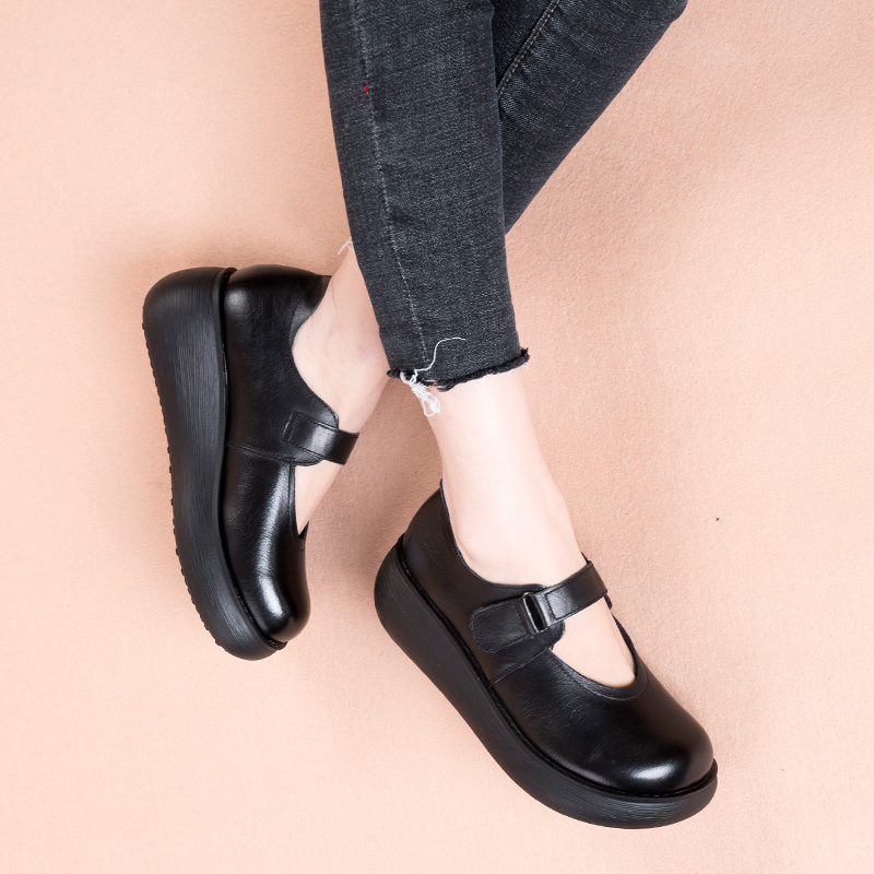 GKTINOO ทำด้วยมือผู้หญิงแพลตฟอร์มรองเท้าสำหรับสตรีรองเท้าหนังผู้หญิง Vintage Soft Comfort Wedges Breathable ปั๊ม-ใน รองเท้าส้นสูงสตรี จาก รองเท้า บน   2