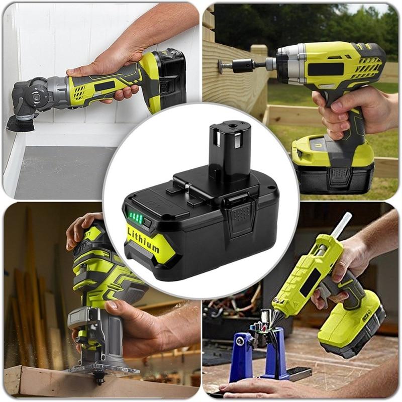 Batterie d'outil électrique de batterie de Li-ion de Cncool 18V 5000mAh pour le paquet de batterie Rechargeable de rechange de Ryobi P108 RB18L40 un + 18V Ryobi