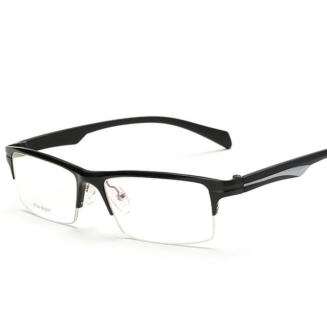 ed0224c2 Rectángulo Delgado Falso Vidrios Ópticos Marcos de Las Lentes Lente  Transparente Cuadrado de la Aleación Semi sin montura Medio Monturas de  gafas ...