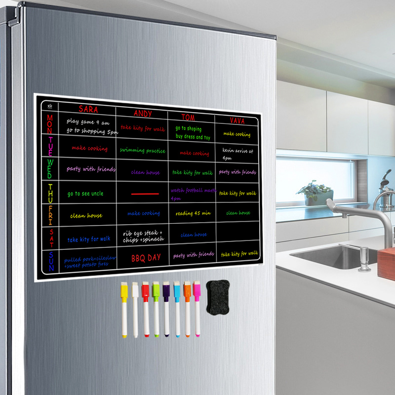 Free 8 Pen Magnetic Whiteboard Dry Erase Calendar Board Monthly Refrigerator Calendar Fridge Magnetic Whiteboard Chalkboard