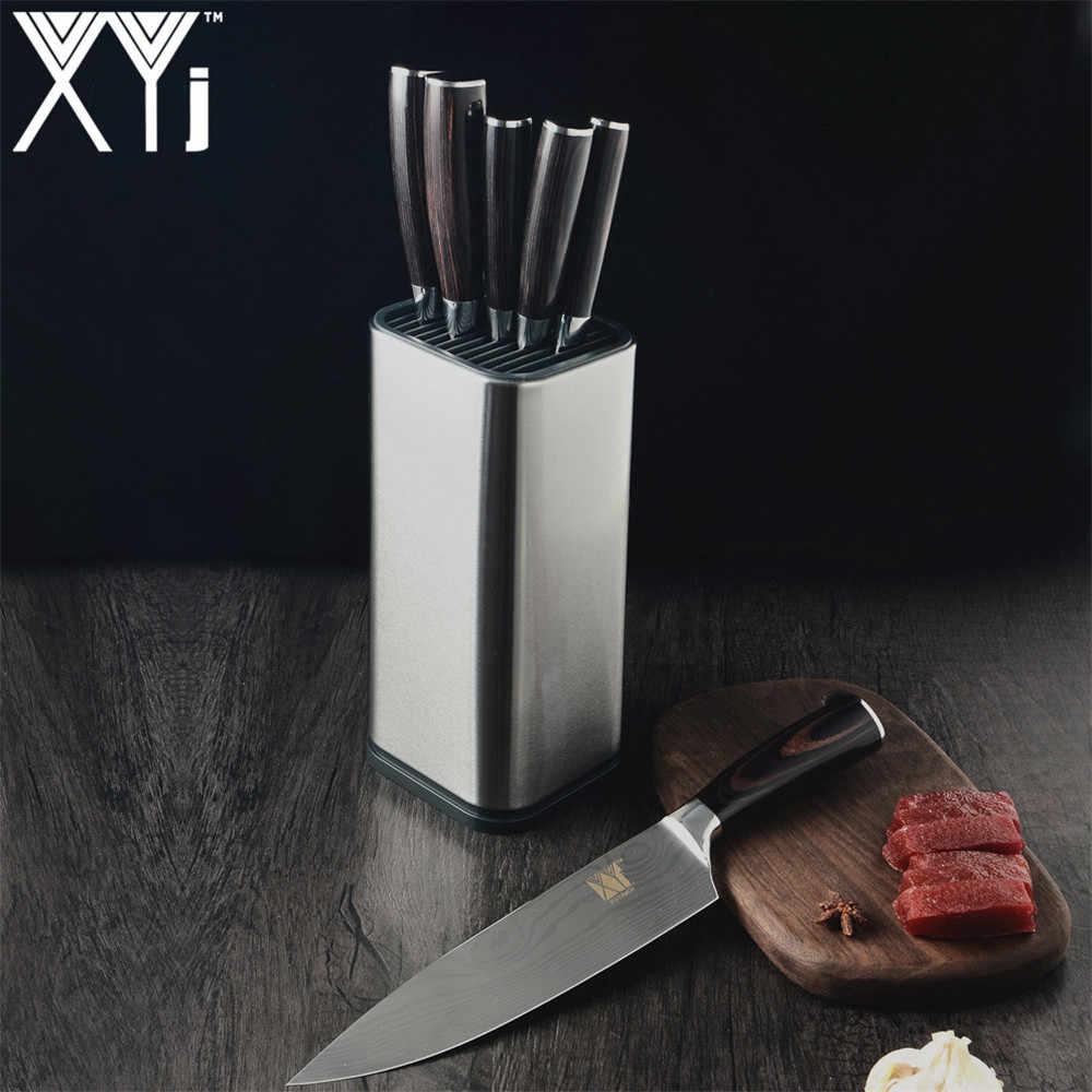 حامل سكينة مطبخ XYj أطقم طهو نمط دمشق 7cr17 سكينة من الفولاذ المقاوم للصدأ سكينة تقطيع سكينة تقطيع سكينة سانتوكو