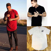 New  silk siksilk t-shirt black white red solid style hip hop T-shirt top fashion mens Men Longline