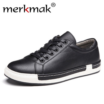 Merkmak Handmade Men Shoes Brand Casual Shoes Solid Lace-up Retro Breathable Shoes Microfiber Leather Flats Shoes Mens Footwear Обувь
