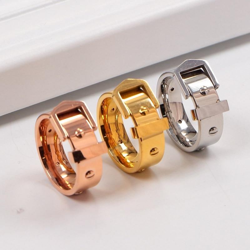 Titanium Steel Belt buckle rivet couple rings stainless steel love letter ring for women men fine jewelry equte coo18c4s69 titanium steel cross love couple s ring black golden silver women 6 men 9