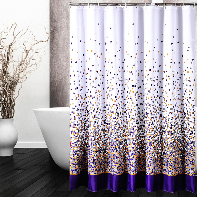 Comwarm Colorful Geometry Little Block Black White Chrysanthemum Circular Flower Vine Pattern Shower Curtain Bathroom