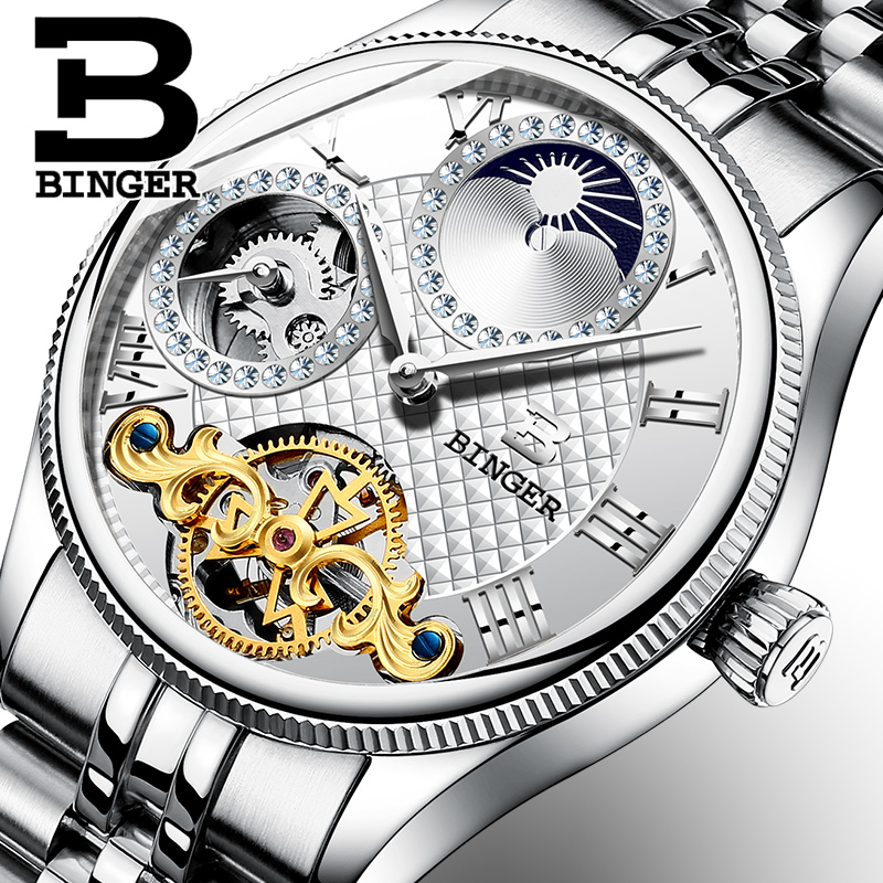 Switzerland Mechanical Men Watches Binger Luxury Brand Skeleton Wrist Waterproof Watch Men sapphire Male reloj hombre B1175G-1 wrist waterproof mens watches top brand luxury switzerland automatic mechanical men watch sapphire military reloj hombre b6036