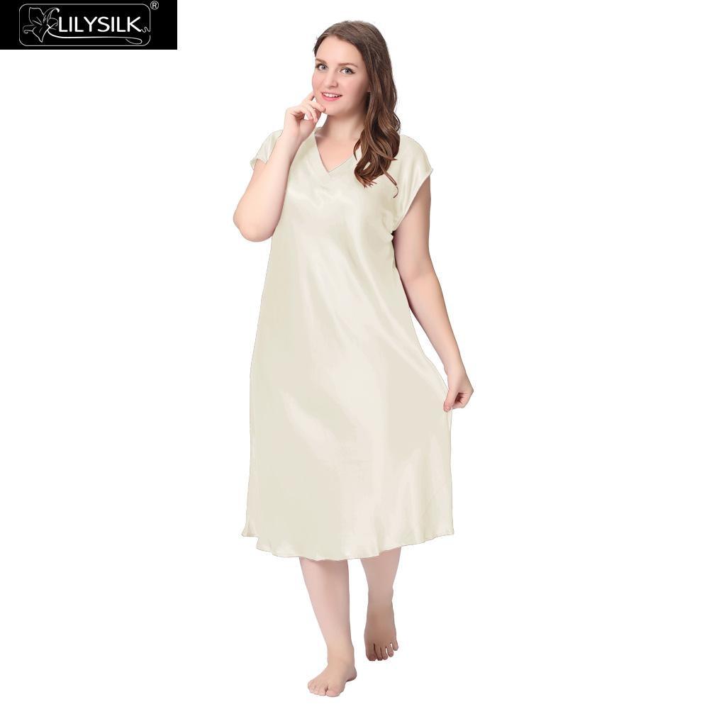 Lilysilk Silk Nightgown Women Long Sleeping Dress Plus Size Short Sleeve  Solid 22 Momme V Neck Night Luxury Pure Bride Wedding-in Nightgowns    Sleepshirts ... a11f4a3ed