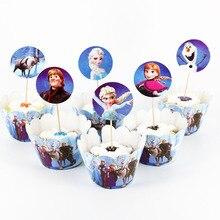 24 шт. Анна и Эльза кекс обертки для пирожных топперы для душа ребенка Дети День Рождения декоративные принадлежности