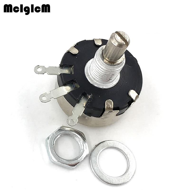 5pcs WX110(010) 6mm Round Metal Shaft Single Turn Wire Resistor Wound Potentiometer 1k 2.2k 3.3k 4.7K  5.6k 6.8k 10k 22k Ohm