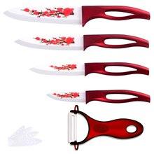 Keramik Messer Set Rote Blume Klinge Red Griff 4 Stück Messer + eine Scharfe Peeler Gute Küchenmesser Keramik Kochen Werkzeuge Für verkauf