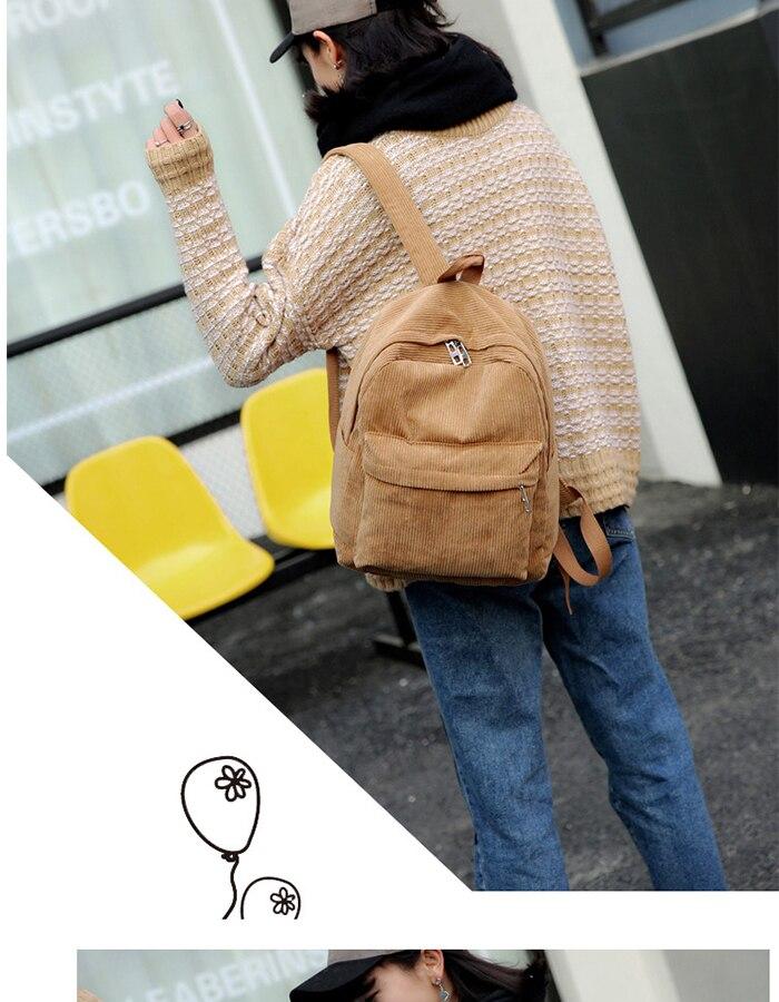HTB1rEhLM7zoK1RjSZFlq6yi4VXaj 2019 New Corduroy Women Backpack Pure Color Women Travel Bag Fashion Double Backpack Female Mochila Bagpack Pack Design
