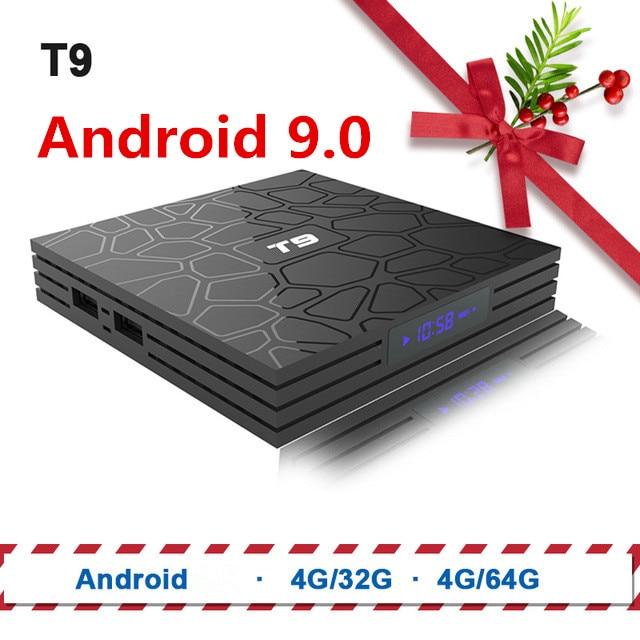 TV Box T9 Android 8.1 Bluetooth Rockchip RK3328 4 GB RAM 32 GB/64 GB 4 K Google Player supporte 2.4 GHz WiFi HD 4 K décodeur intelligent