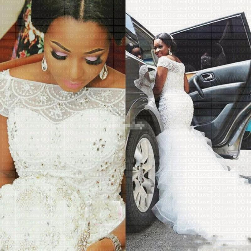 2019 nouveaux Styles africains robe de mariée sirène perles élégantes hors épaule robes de mariée robes de mariée