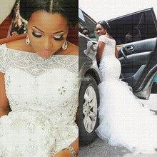 2020 ใหม่แอฟริกันรูปแบบ Mermaid งานแต่งงานชุดลูกปัด Off Shoulder ชุดแต่งงานชุดแต่งงาน