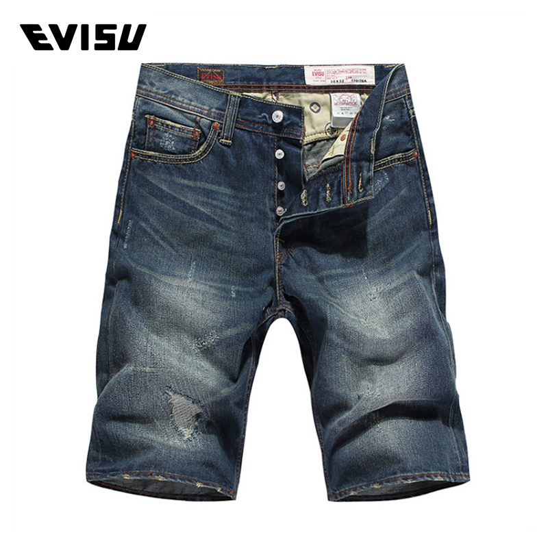 Evisu Men Jeans Male Brand Denim Short Pants Mens Biker Jogger Jeans Casual Ripped Scratched Skateboard Pants Cowboys 2016