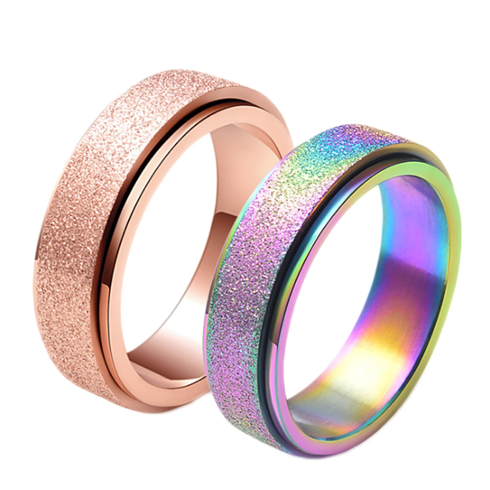 Rose Gold Scrub Rotatable Rings for Women Fashion Rainbow Ring Men Jewelry Wedding Band Top Stainless Steel Ring