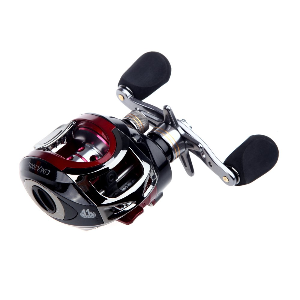 CJSD LMA200 10+1BB Ball Bearings Bait Casting Fishing Reel High Speed 6.3:1 Red Left starters 5 answer booklet