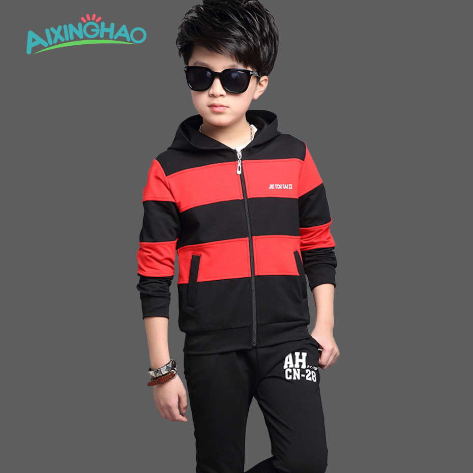 Aixinghao Boys Clothing Sets Autumn Kids Sports Patchwork Coats + Pants Suit Girls Clothes Set For Teenage Children Clothes new boys girls clothing set autumn children suit long sleeved fashion shirts coats pants for christmas gift kids dress clothes