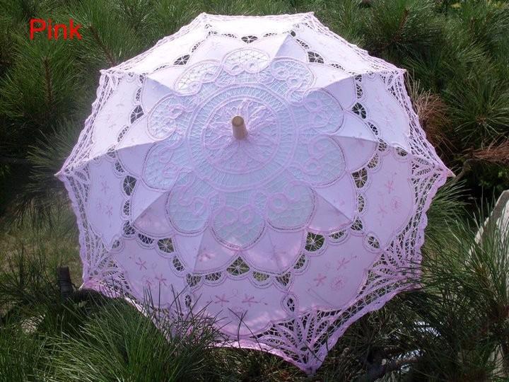 New Lace Umbrella Cotton Embroidery White/Ivory Battenburg Lace Parasol Umbrella Wedding Umbrella Decorations Free Shipping 26
