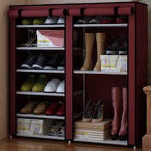 Simple double shoe rack dust cloth entrance burgundy