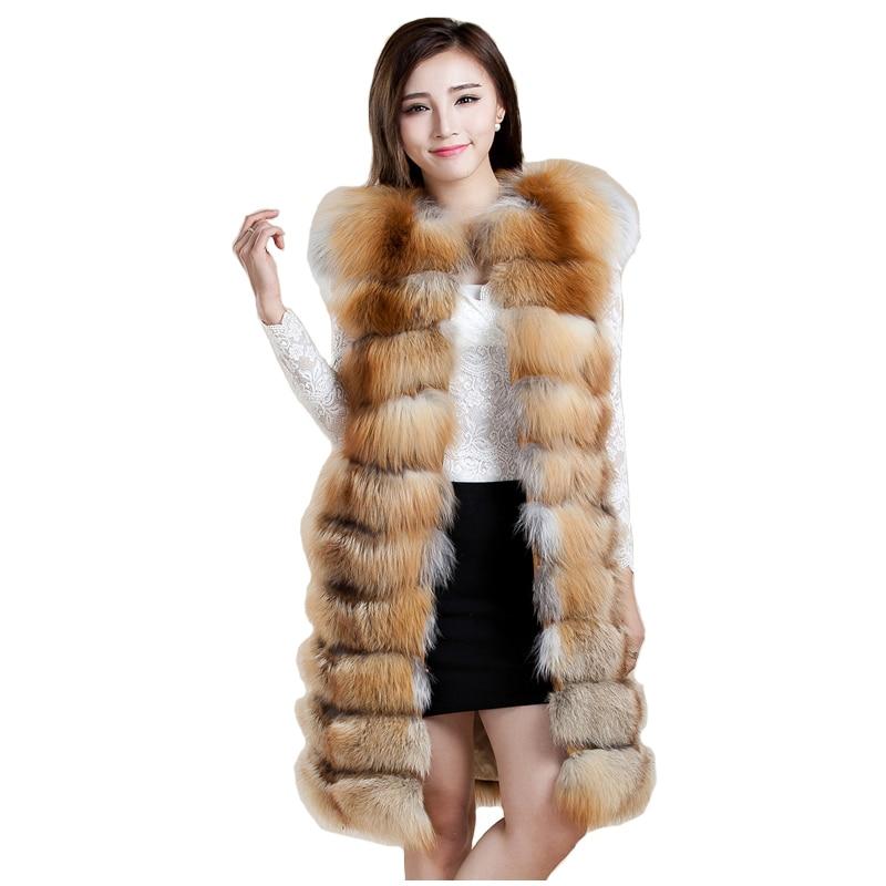 2016 Luxury Real Fox Fur Vest Waistcoat Autumn Winter Genuine Women Fur Gilet X Long Outerwear