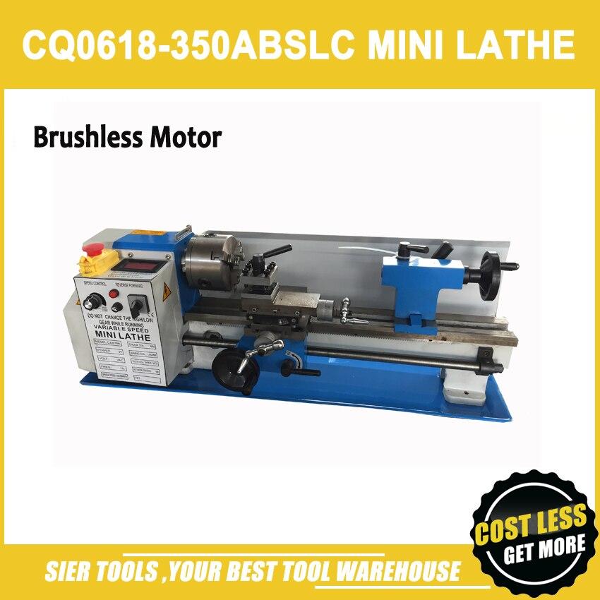 CQ0618-350ABSLC mini máquina de torno/450 W Brushless Motor, engrenagens de aço, 100 milímetros mandril torno/Leitura de Velocidade/Free 11 pcs ferramenta de tornear