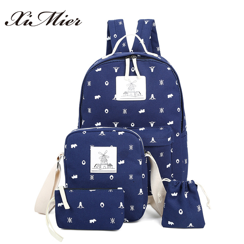 fashion printing women backpack canvas school bags set for teenage girls cute character windmill female travel ximier backpacks 2016 18 inch cute cat printing backpack women school bags for teenage girls fashion men travel bags good quality