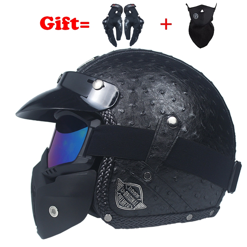 VOSS PU Leather Harley 3 4 Chopper Bike Open Face Vintage Motorcycle Helmet Antique Motorcycle