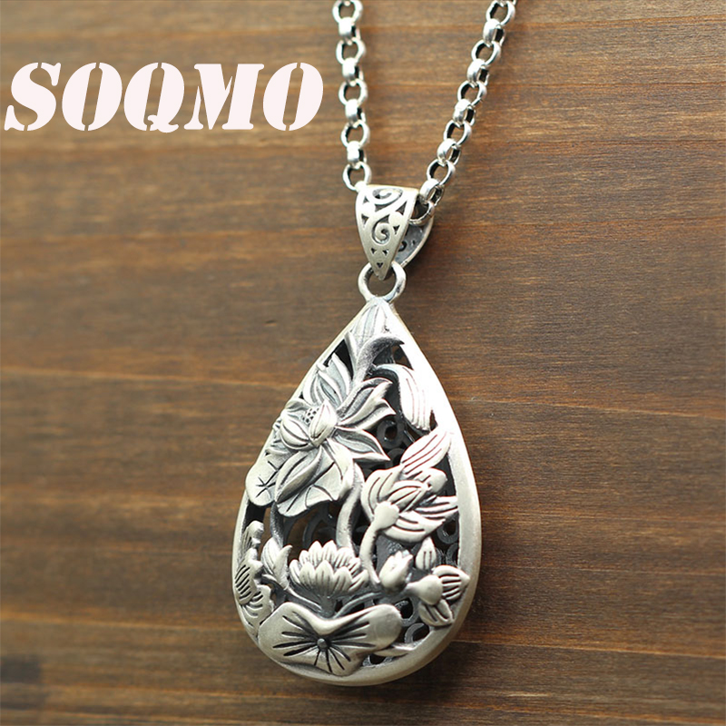 SOQMO authentique 925 bijoux en argent Sterling Vintage Lotus fleur pendentifs femmes accessoires cadeau argent pendentif SQM201