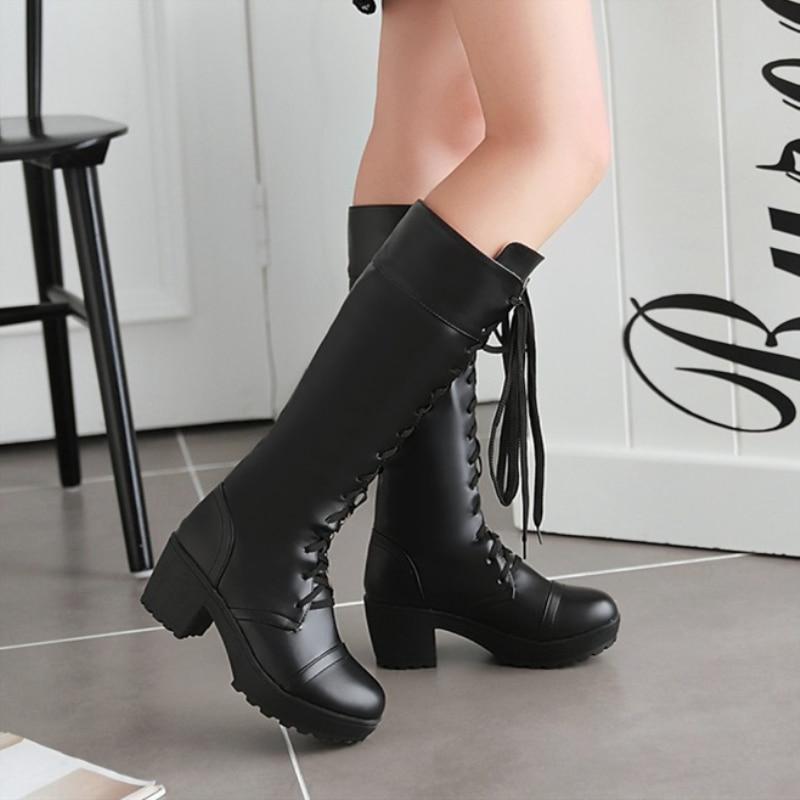 Carré Cuir Bottes Plate Chaussures En De Pu Hiver Casual Punk 2018 Blanc Noir Haute Talon Sexy Femme Moyen white Genou Fourrure forme Femmes Noir Neige X0Pw7q