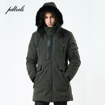 New Winter Casual Long Style Hooded Epaulet Cotton Padded Jackets Men Thick Hat Windproof Fashion Men Parka Pockets Coats