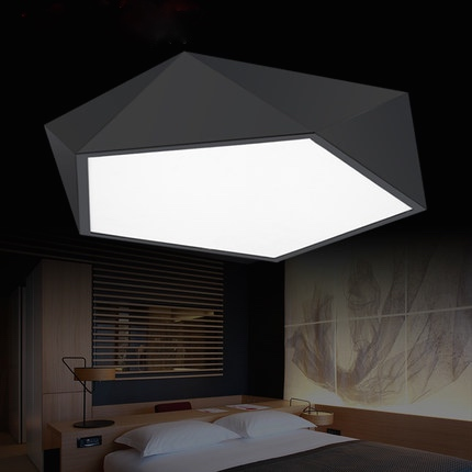 Creative geometry shape modern led ceiling light black/white housing ...